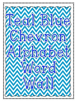 Alphabet/Word Wall Poster Printables in Teal Chevron