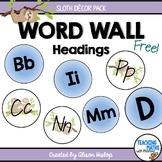 Alphabet Word Wall Sloth Decor Set FREE