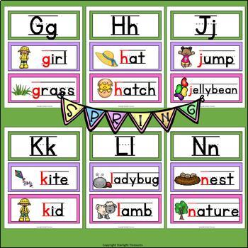 Alphabet Word Wall - Spring Theme - A-Z Word Wall