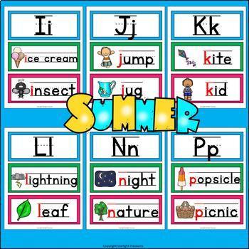 Alphabet Word Wall - Summer Theme - A-Z Word Wall