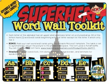 Alphabet Word Wall Toolkit {Superhero Theme}