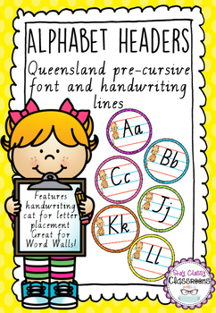 Alphabet Word Wall Toppers - QLD Pre-Cursive