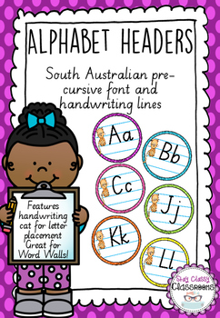 Alphabet Word Wall Toppers - South Australian Pre-Cursive