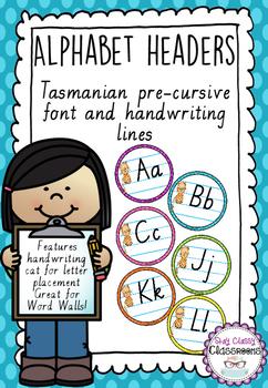 Alphabet Word Wall Toppers - Tasmanian Pre-Cursive