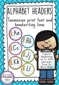 Alphabet Word Wall Toppers - Tasmanian Print