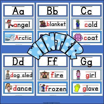 Alphabet Word Wall - Winter Theme - A-Z Word Wall