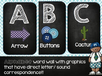 Alphabet Word Wall and Dolch Sight Words in Blue Chevron and Black Chalkboard