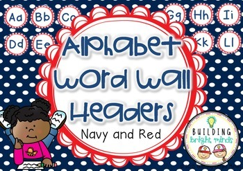 Alphabet Word Wall Headers {Navy and Red}
