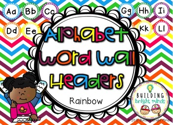 Alphabet Word Wall Headers {Rainbow}