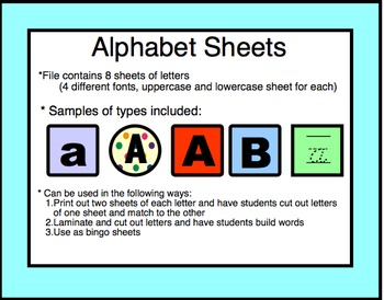 Alphabet: Word work, matching, letter identification