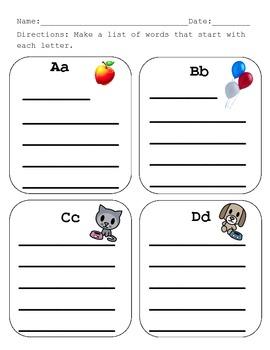 Alphabet Words Center