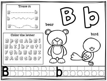 Alphabet Workbook: Worksheets A-Z Animal Theme