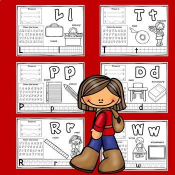 Alphabet Workbook: Worksheets A-Z Back to School Theme
