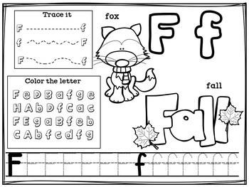 Alphabet Workbook: Worksheets A-Z Fall Theme