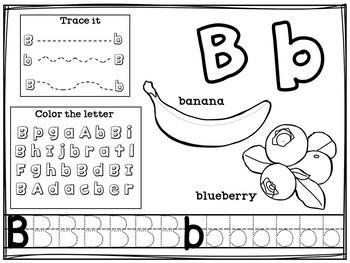 Alphabet Workbook: Worksheets A-Z Food Theme