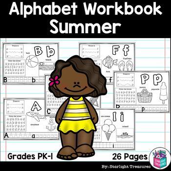 Alphabet Workbook: Worksheets for A-Z -  Summer Theme