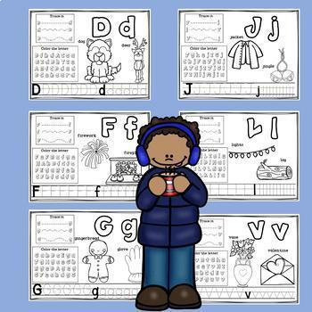 Alphabet Workbook: Worksheets A-Z Winter Theme
