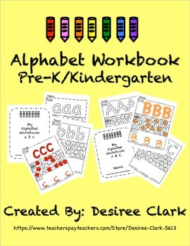 Alphabet Workbook (ABC + abc) PreK/Kindergarten