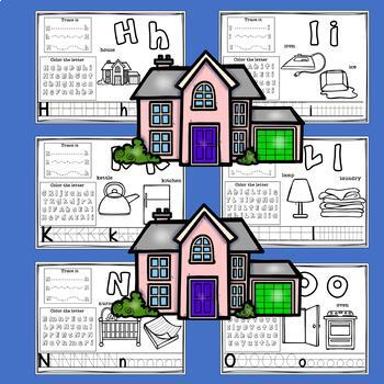 Alphabet Workbook: Worksheets A-Z My House Theme