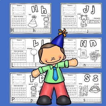 Alphabet Workbook: Worksheets A-Z New Year's Day