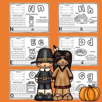 Alphabet Workbook: Worksheets A-Z Thanksgiving Theme