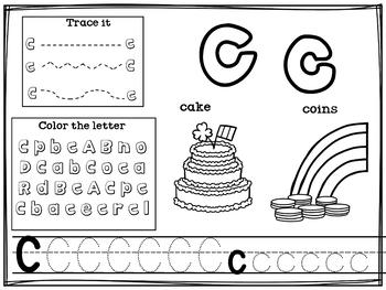 Alphabet Workbook: Worksheets for A-Z - St. Patrick's Day Theme