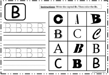Alphabet Worksheet - Color and Write 'A-Z' Capitals