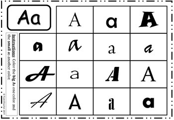 Alphabet Worksheet Freebie - Color Capital and Lowercase 'A'