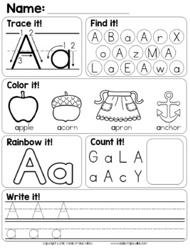 alphabet worksheets by a dab of glue will do teachers pay teachers. Black Bedroom Furniture Sets. Home Design Ideas