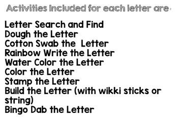 Alphabet Worksheets Games and Activities for Preschool or Kindergarten Centers