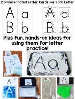 Alphabet Worksheets, Handwriting Pages, & Cards DIFFERENTIATED