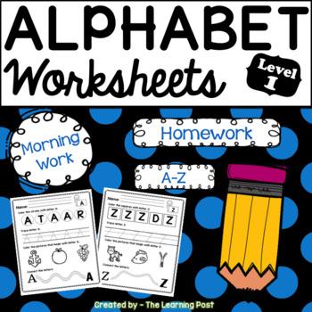 Alphabet Worksheets A-Z Level 1