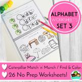 Alphabet No Prep Worksheets Beginning Sounds and Letter Match
