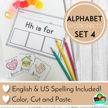 Alphabet Worksheets Color, Cut and Stick