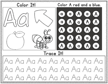 Alphabet Worksheets:  Color It, Look for It, and Trace It