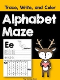 Alphabet Practice Maze (Beginning Sounds) Trace, Write, and Color