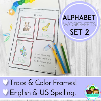 Alphabet Worksheets Colour and Trace Frames