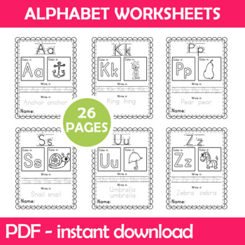 Alphabet Worksheets Instant Download PDF; Preschool, Kindergarten, School