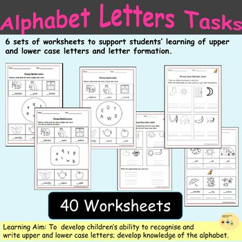 Alphabet Worksheets- Match Letters to Pictures Tasks, Handwriting, Gap-filling