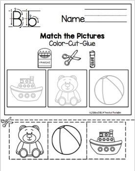 "Alphabet Worksheets ""No Prep"" Color-Cut-Glue"