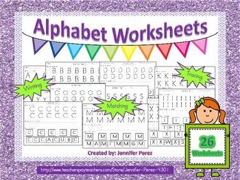 Alphabet Worksheets-Tracing, Writing, Matching