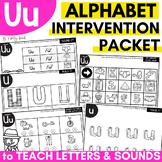 Alphabet Worksheets for Intervention | Letter U