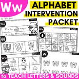 Alphabet Worksheets for Intervention | Letter W