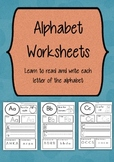 Alphabet Worksheets - with Simple Font