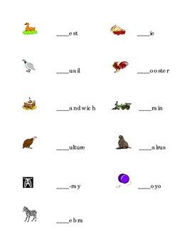 Alphabet Write Beginning Sounds Consonants Pictures Kindergarten