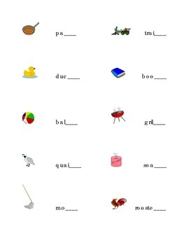 Alphabet Write Ending Sound Ending Consonant for Each Picture Kindergarten