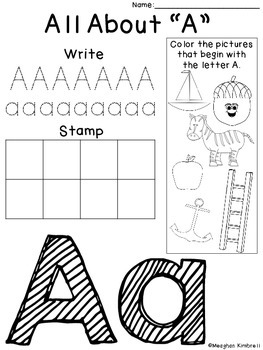 alphabet write stamp color activity sheets