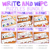 Phonics Write and Wipe Puzzles Bundle, Phonics Games