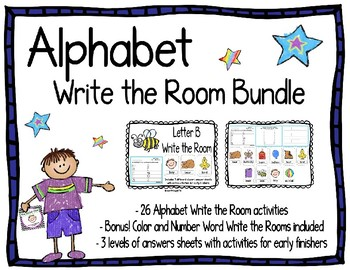 Alphabet Write the Room Bundle- Bonus! Color and Number Words Included