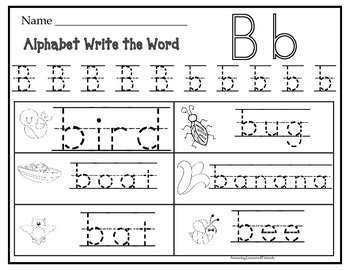 Alphabet Write the Word Work Sheet By AL4F